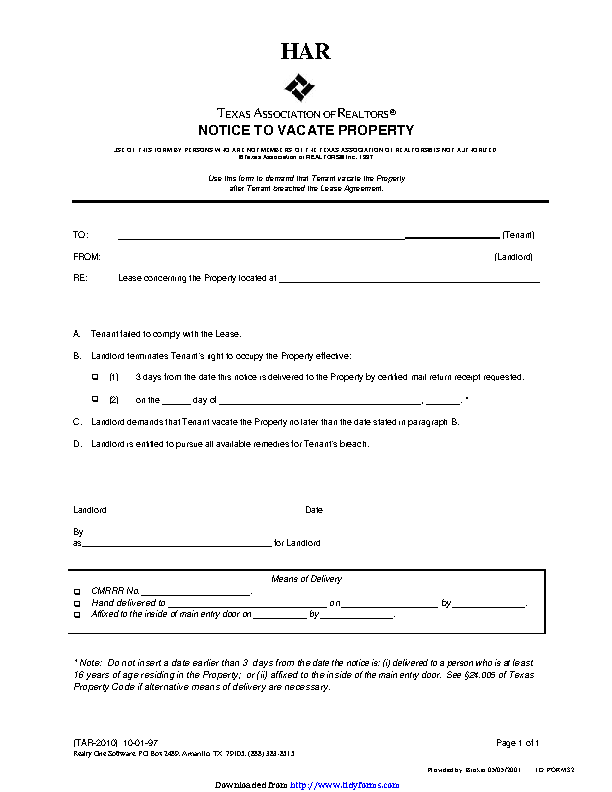 Texas Eviction Notice Template