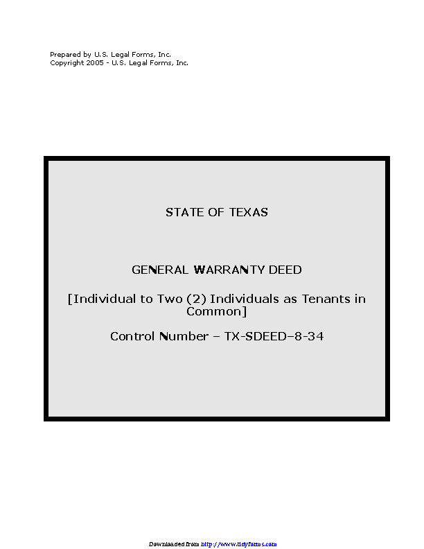 Texas General Warranty Deed Individual To Two Individual As Tenants In Common