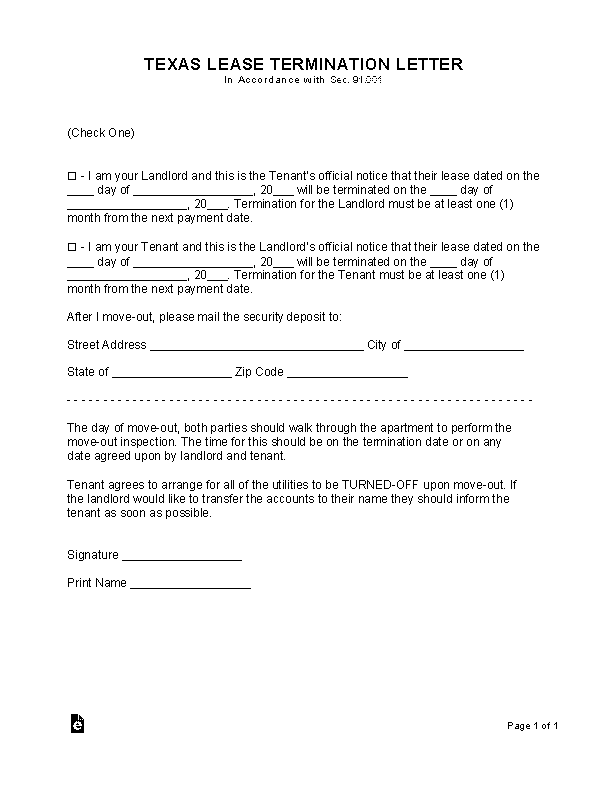 Texas Lease Termination Letter Form