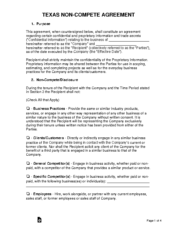Texas Non Compete Agreement Template