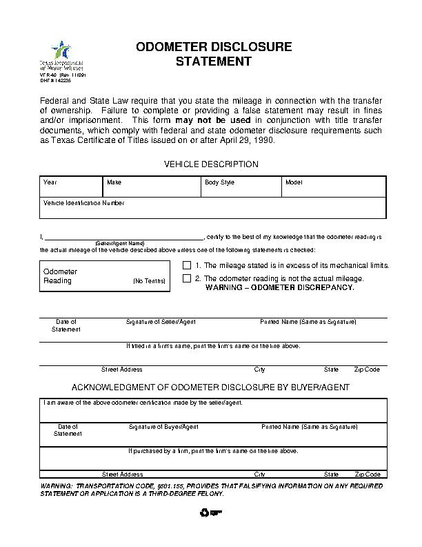 Texas Odometer Disclosure Statement