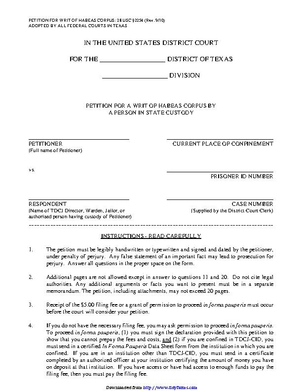 Texas Petition For A Writ Of Habeas Corpus 3