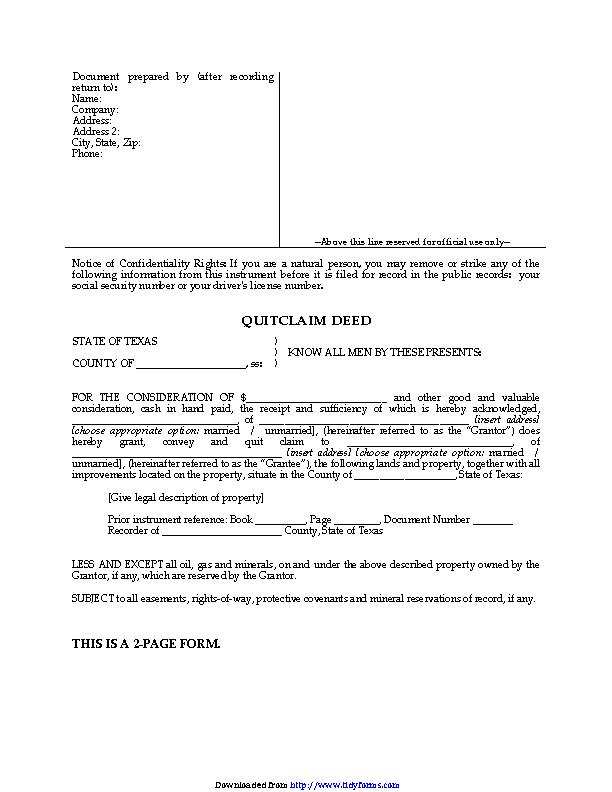 Texas Quitclaim Deed Form 2