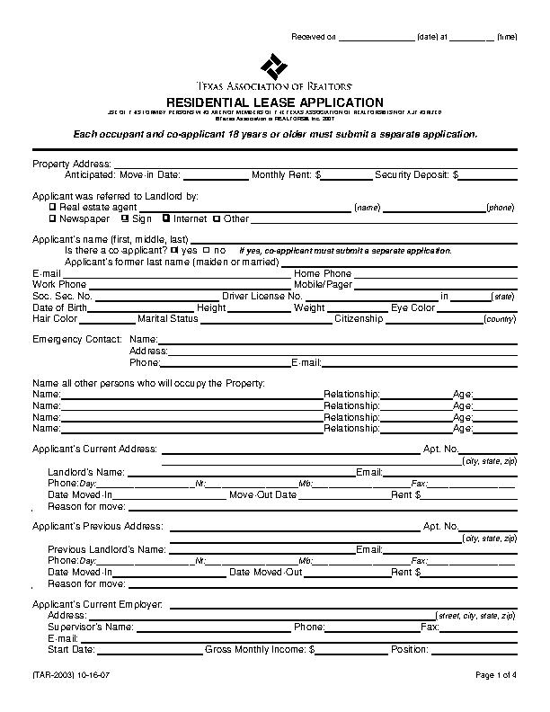 texas residential lease application form - PDFSimpli