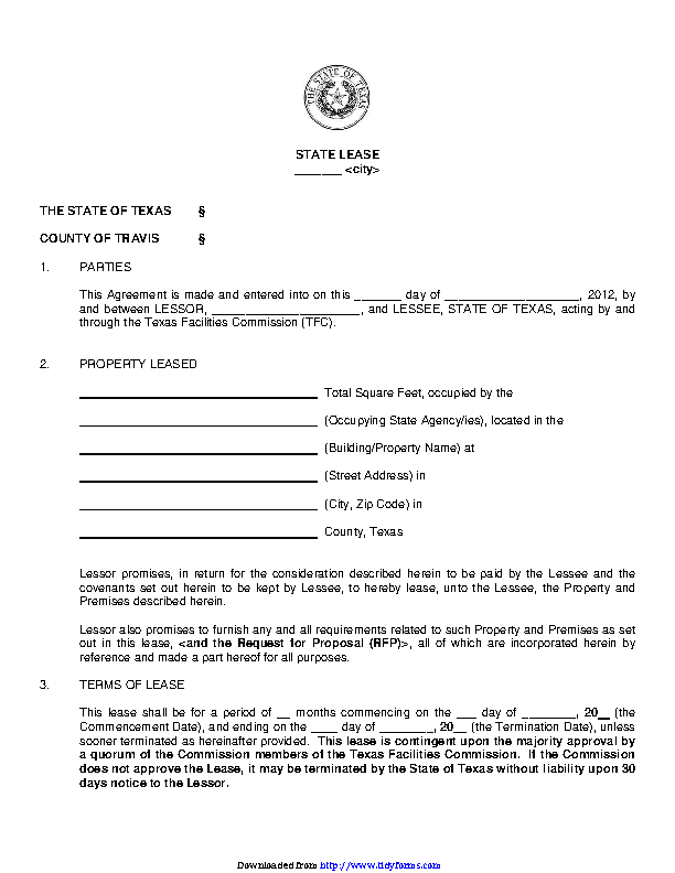 Texas Standard State Lease Contract Form Pdfsimpli