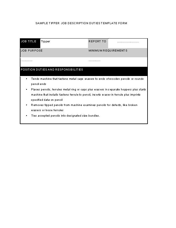 Tipper Job Description