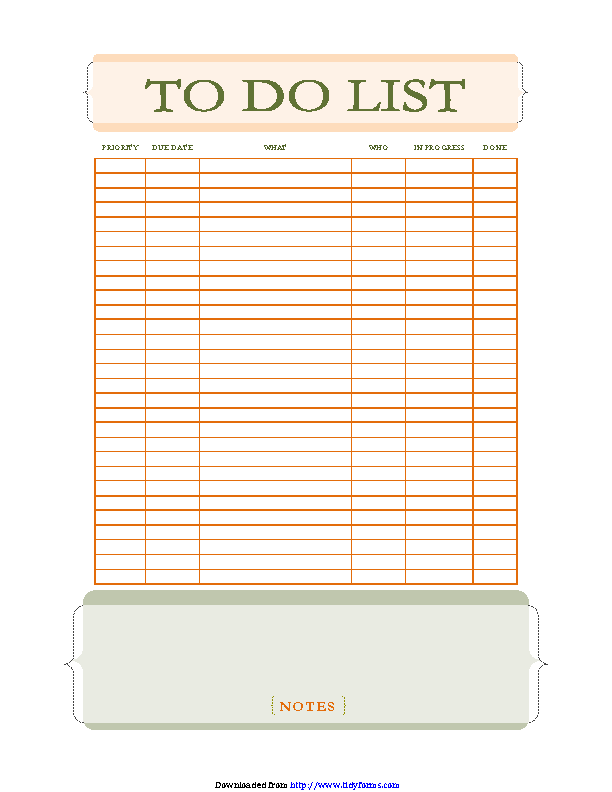 To Do List With Notes