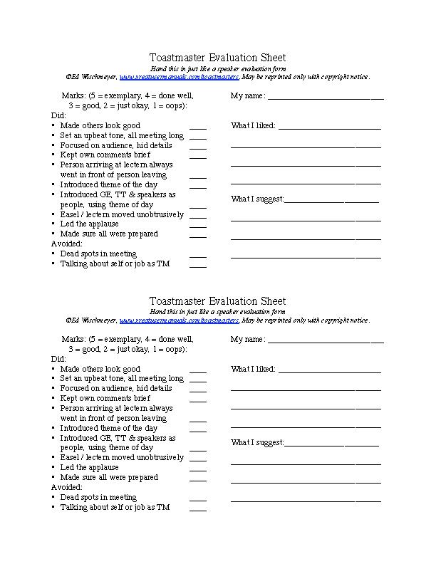 Toastmaster Evaluation Sheet