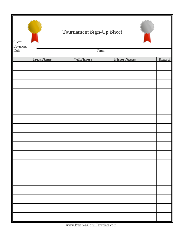 Tournament Signup Sheet