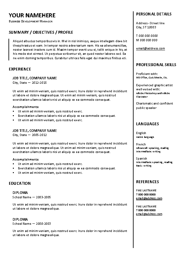 Traditional Resume Template A4 - PDFSimpli