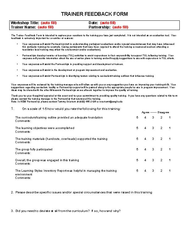 Trainer Feedback Form December 2007 1