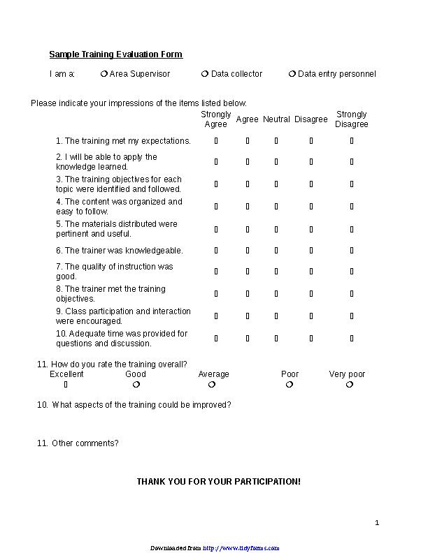 Training Evaluation Form 1