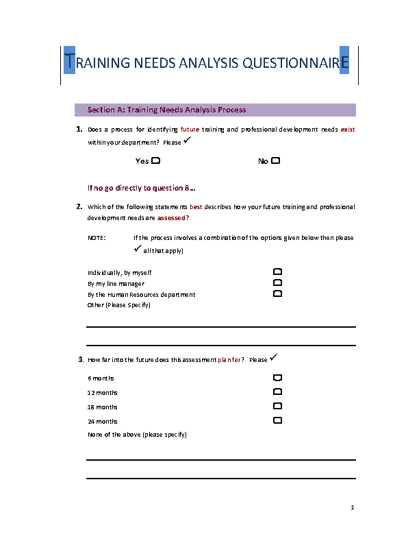 Training Needs Analysis Questionnaire Template
