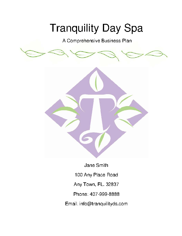 Tranquility Day Spa Plan