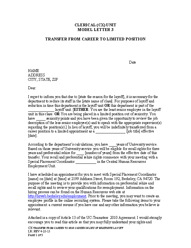 Transfer Letter From Career To Non Career Sample Word Download