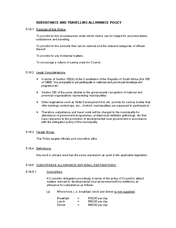 Travel Allowance Policy Template