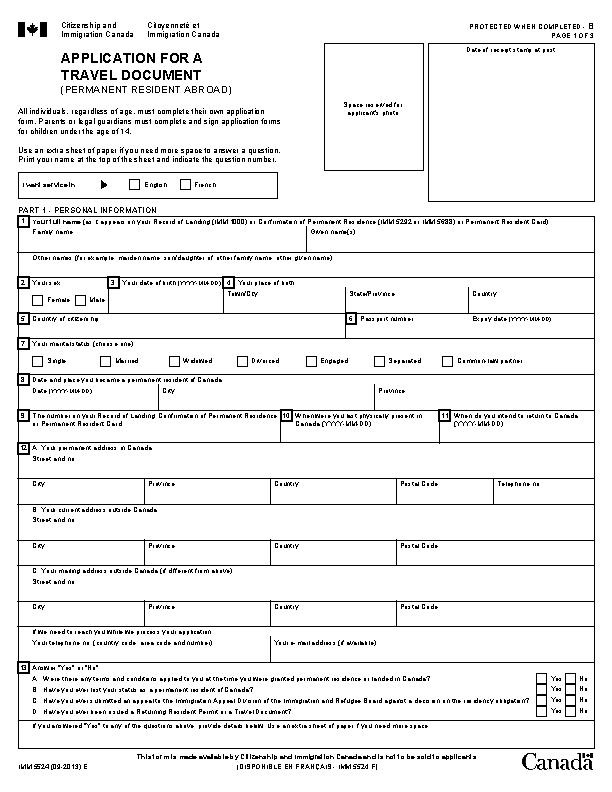 Travel Document Application Form