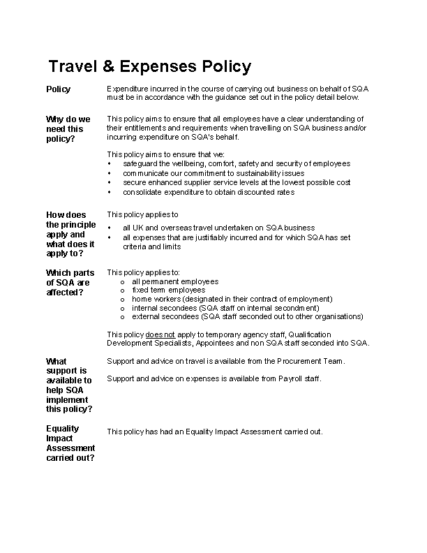 Travel Expense Policy