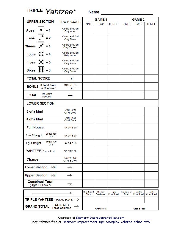 Triple Yahtzee Scoresheet