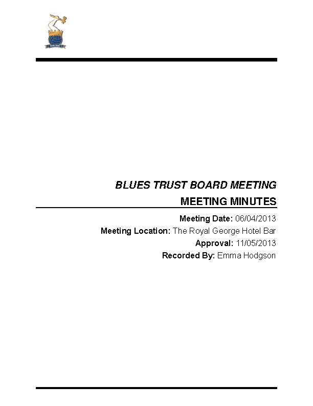 Trust Meeting Minutes Template