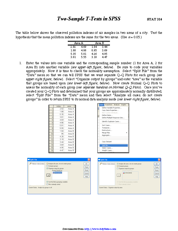 Two Sample T Tests In Spss