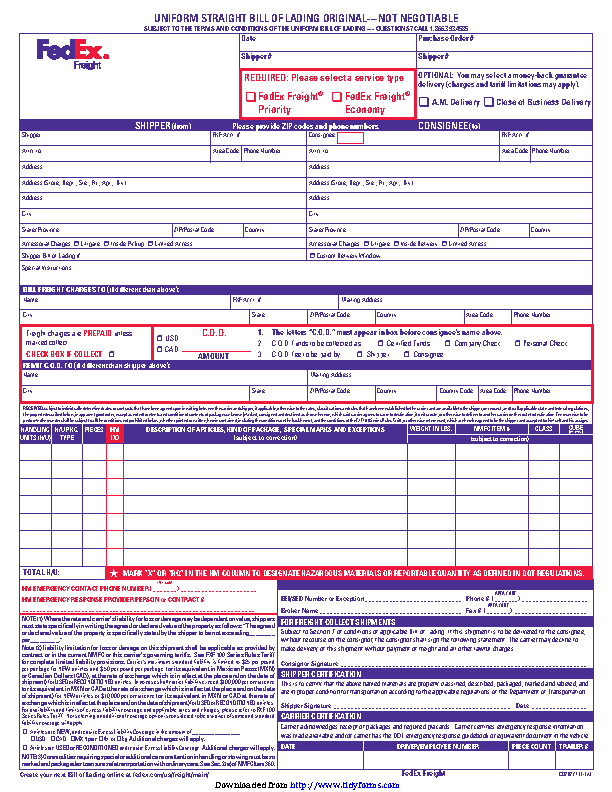 Uniform Straight Bill Of Lading Original