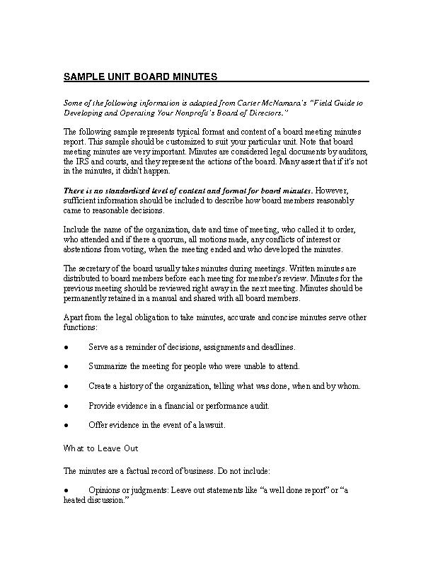 Unit Board Minutes