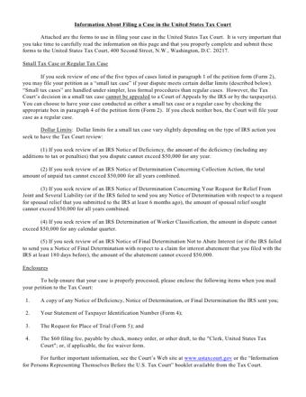 US Tax Court Petition PDF