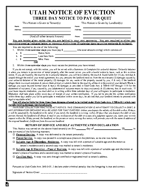 Utah 3 Day Notice To Quit Nonpayment Of Rent