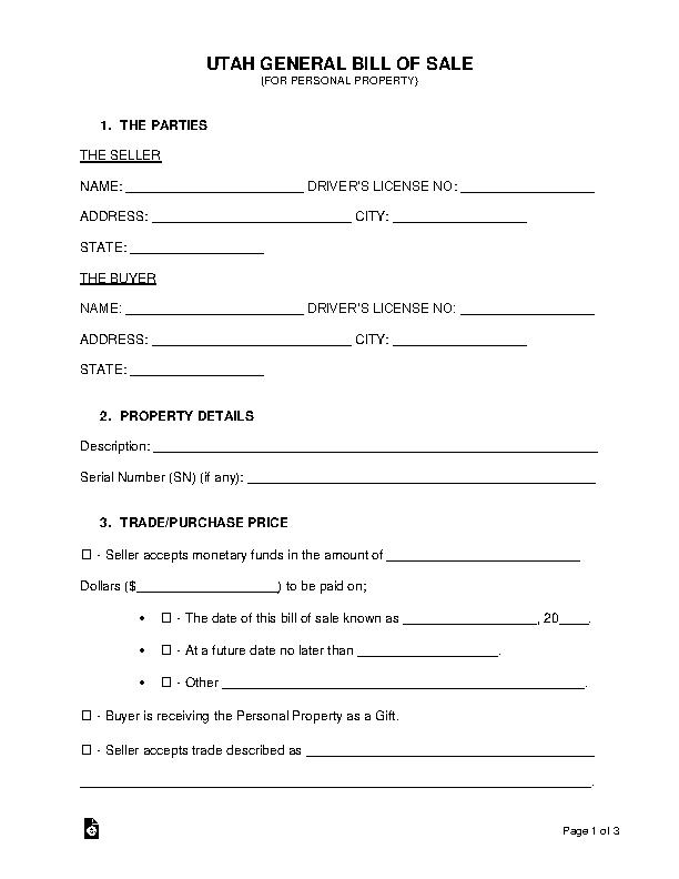 Utah General Personal Property Bill Of Sale