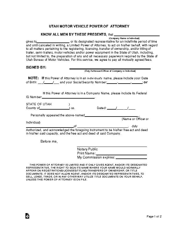 Utah Motor Vehicle Power Of Attorney Form