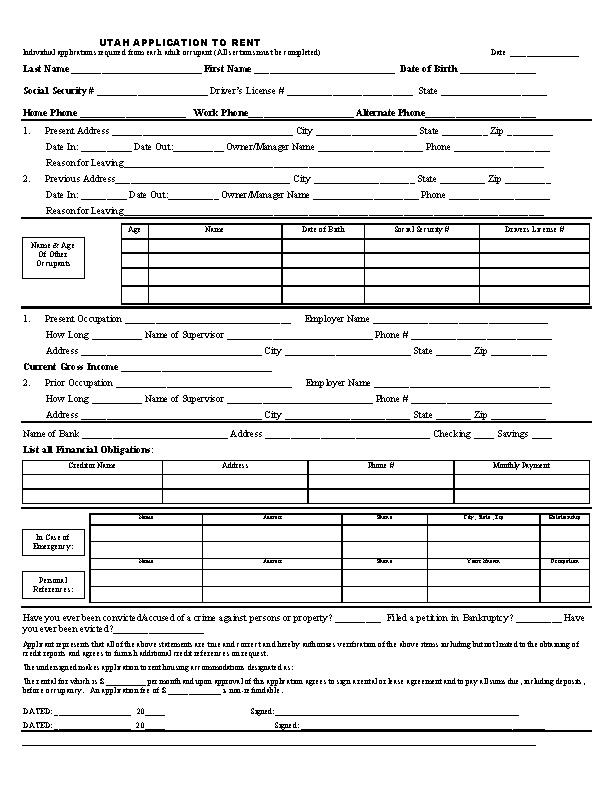 Utah Rental Application Form