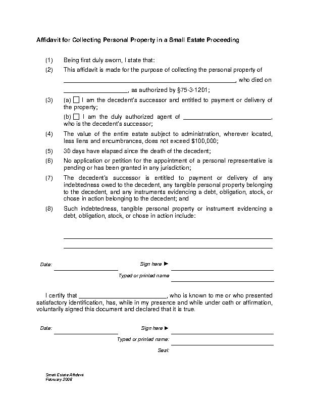 Utah Small Estate Affidavit Form