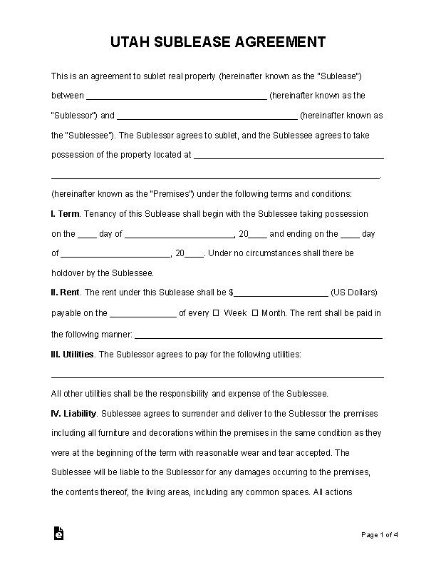 Utah Sublease Agreement Template