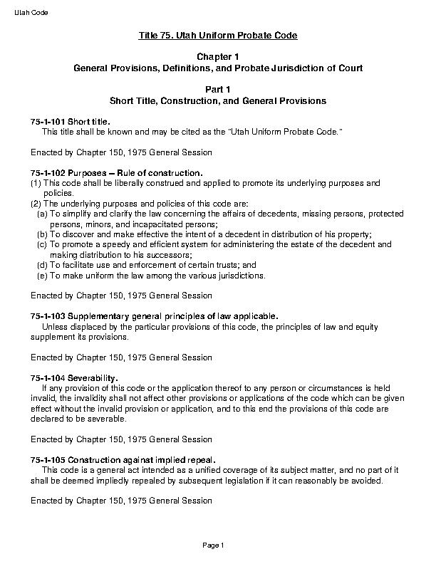 Utah Title 75 Uniform Probate Code