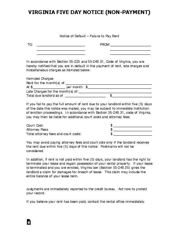 Virginia 5 Day Notice To Quit Form Nonpayment