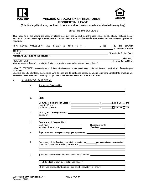 Virginia Association Of Realtors Residential Lease Agreement