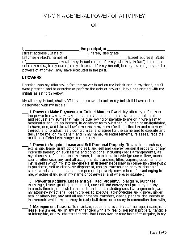 Virginia General Power Of Attorney