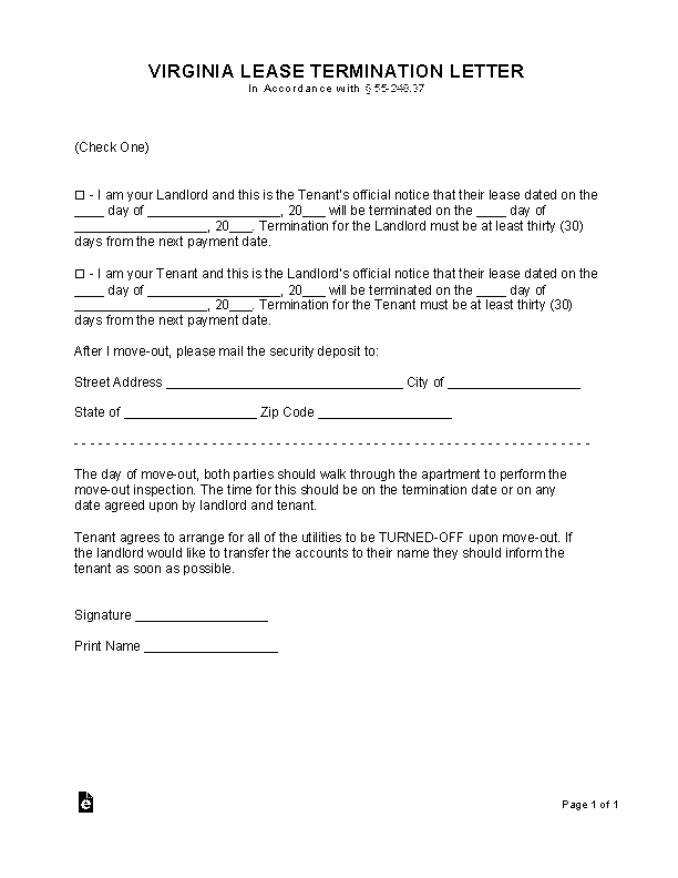 Virginia Lease Termination Letter