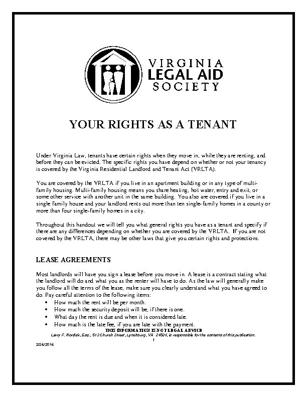 Virginia Legal Aid Society Your Rights As Tenant