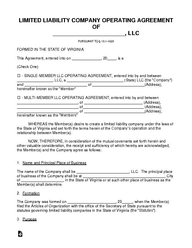 Virginia Llc Operating Agreement Template