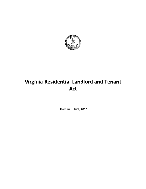 Virginia Residential Landlord And Tenant Act 2015