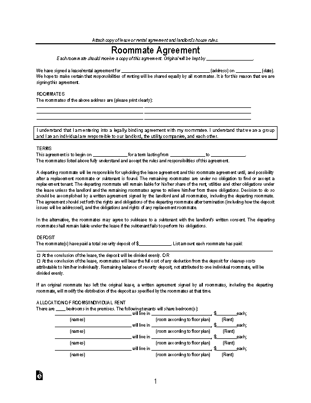 Virginia Roommate Agreement Form