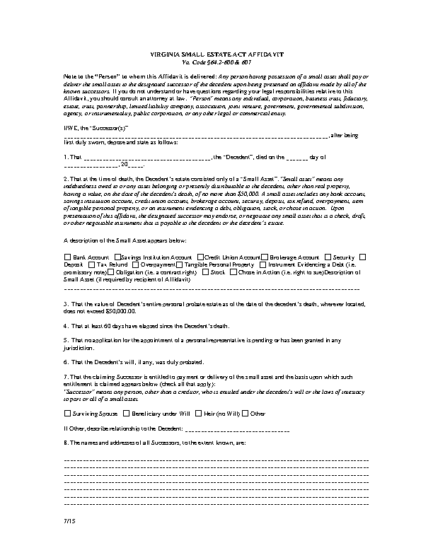Virginia Small Estate Act Affidavit Form