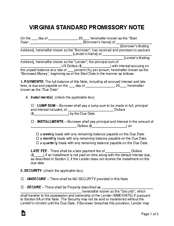 Virginia Standard Promissory Note Template