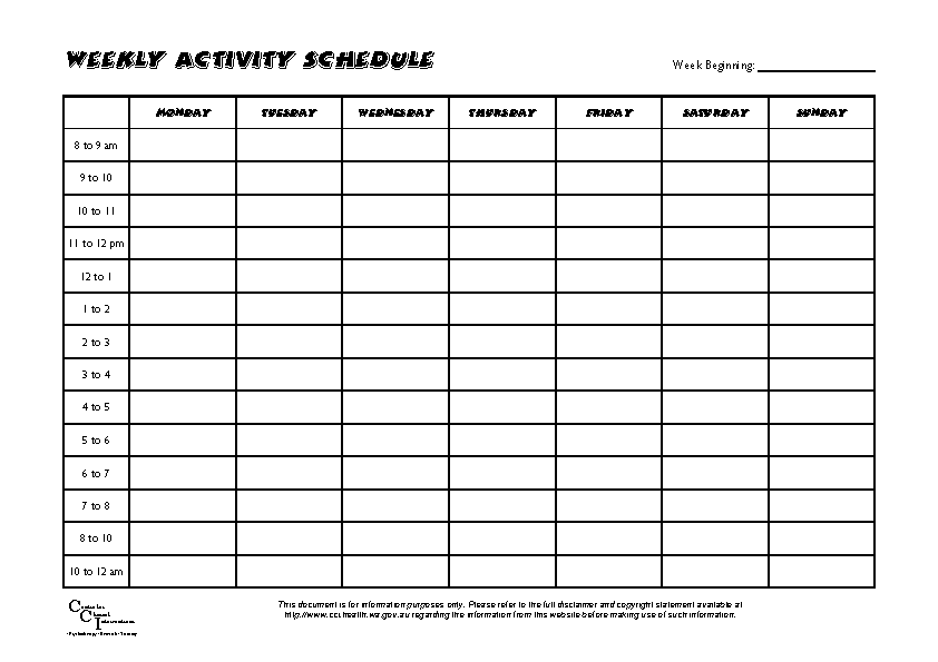 Weekly Activity Schedule