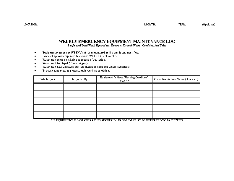 Weekly Emergency Equipment Maintenance Log Template