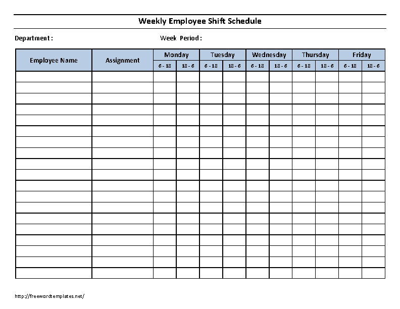 Weekly Employee 12 Hour Shift Schedule Template Word