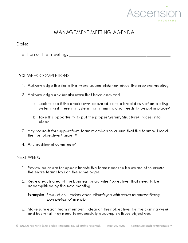 Weekly Management Meeting Agenda