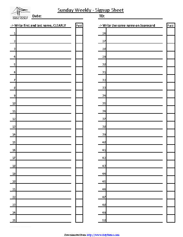 Weekly Sign Up Sheet Template